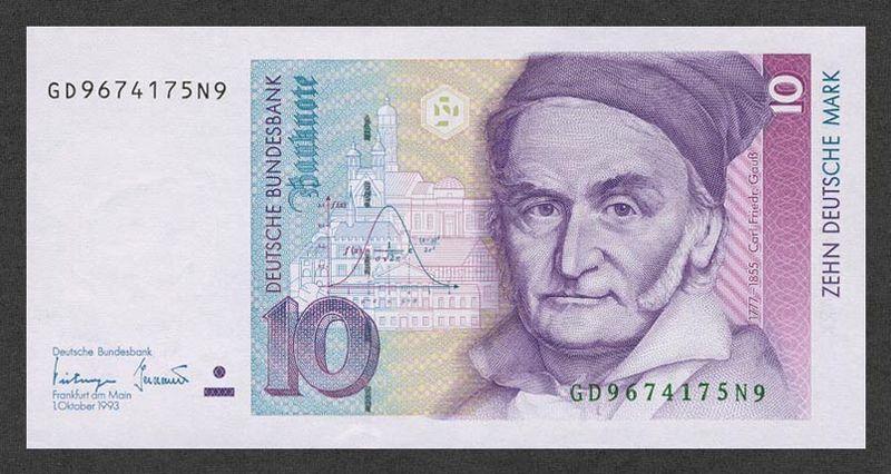 Gauss auf 10 DM Gauß, Carl Friedrich