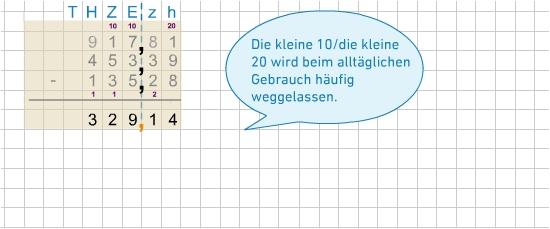 Schriftliche Subtraktion von Dezimalzahlen - bettermarks